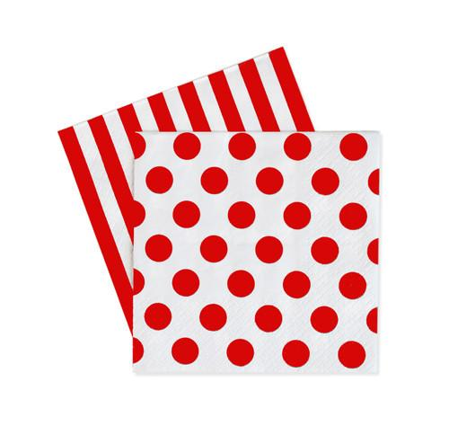 Red Spots & Stripes Napkins