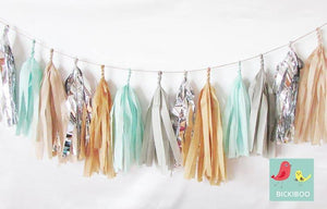Tissue Paper Tassel Garland - Natural
