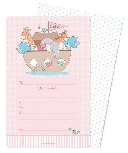 Noahs Ark Pink Invitation - Bickiboo Designs