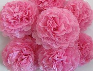 Pink Button Mums Tissue Paper Flowers