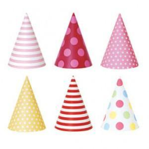 Pink Style Party Hats - Bickiboo Party Supplies