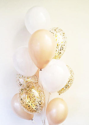 Pearl White & Peach with Gold Confetti Balloons Bouquet