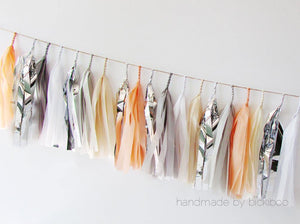 Tissue Paper Tassel Garland - Peach & Grey