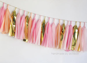 Tissue Paper Tassel Garland - Peachy Pinks