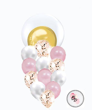 Golden Globe Gold & Pink Confetti Balloon Bouquet