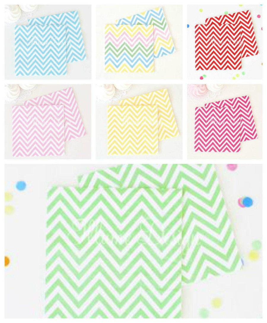 Chevron Hot Pink Napkins - Pack of 20 - Bickiboo Designs