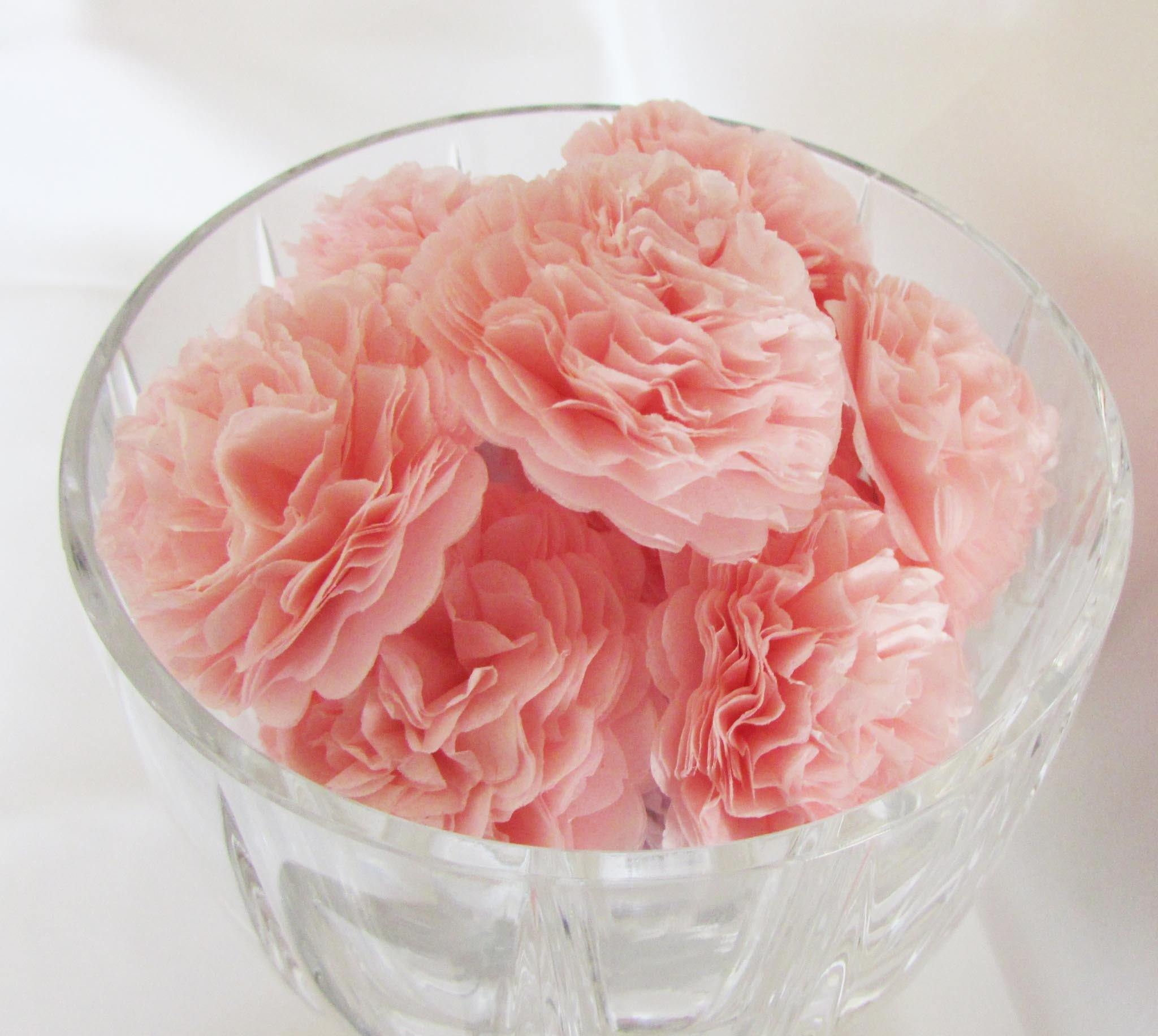Baby Pink Button Mums Tissue Paper Flowers