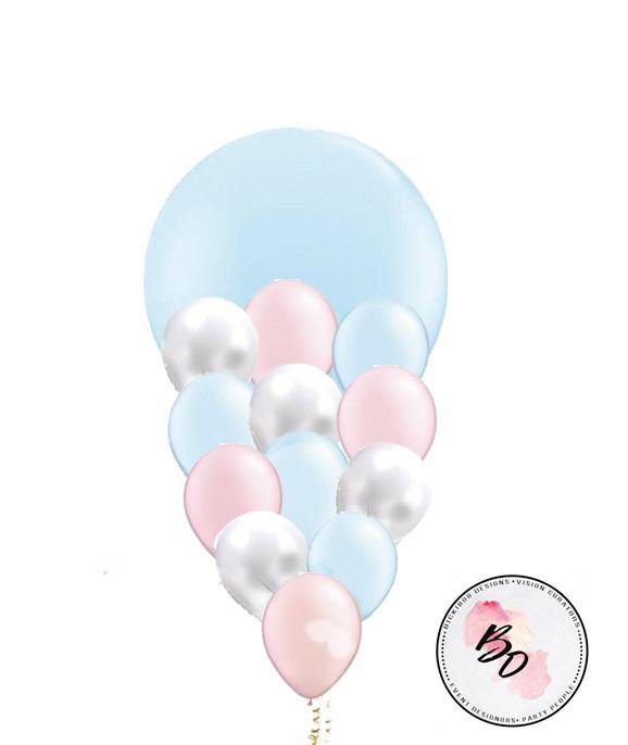 Pearl Blue & Pink & Blue Balloon Bouquet