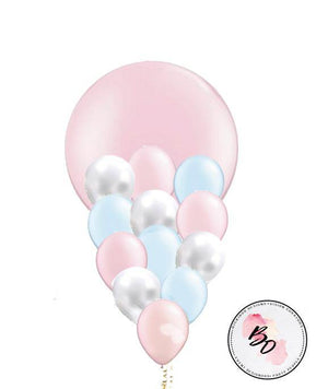 Pearl Pink & Blue Balloon Bouquet