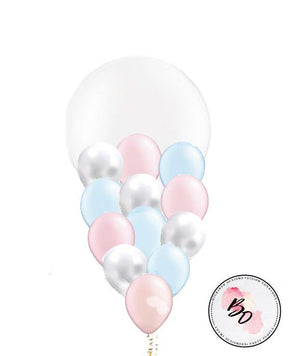 Pearl White & Pink & Blue Balloon Bouquet