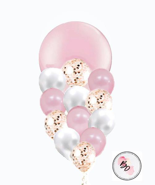 Pink Princess Gold & Pink Confetti Balloon Bouquet