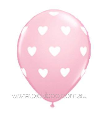 "28cm (11"") Pink With Big White Love Heart Balloons - Bickiboo Party Supplies"