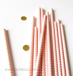 Pink Chevron Paper Drinking Straws (25 pack) - Bickiboo Party Supplies