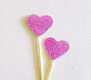 Pink Glitter Heart Swizzle Sticks - Bickiboo Party Supplies