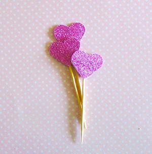 Pink Glitter Heart Cupcake Toppers - Bickiboo Party Supplies