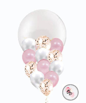 Sweet Lulu Gold & Pink Confetti Balloon Bouquet