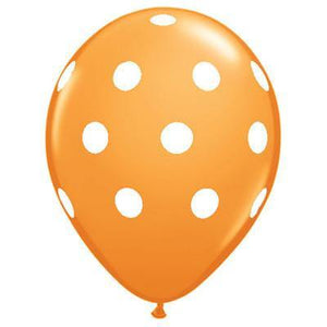 "28cm (11"") Orange With Big White Polka Dots - Bickiboo Party Supplies"