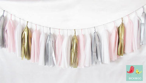 Tissue Paper Tassel Garland - Pretty in Pink