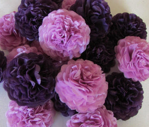 Plum Purple Button Mums Tissue Paper Flowers - Bickiboo Party Supplies