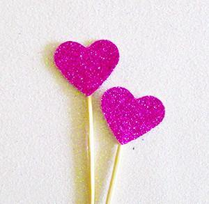 Purple Glitter Heart Swizzle Sticks - Bickiboo Party Supplies