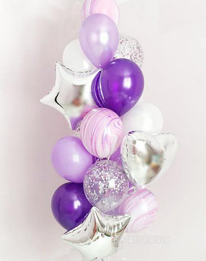 Shades of Purple & Silver Balloons Bouquet - Bickiboo Designs