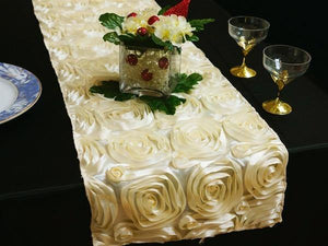 Ivory Satin Rose Table Runner - Bickiboo Designs