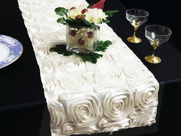 White Satin Rose Table Runner