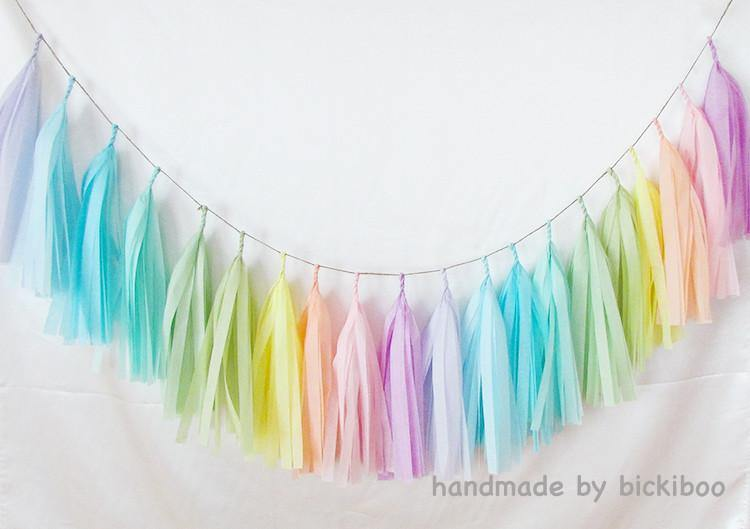Tissue paper tassel garland rainbow pastels bickiboo for Arland decoration