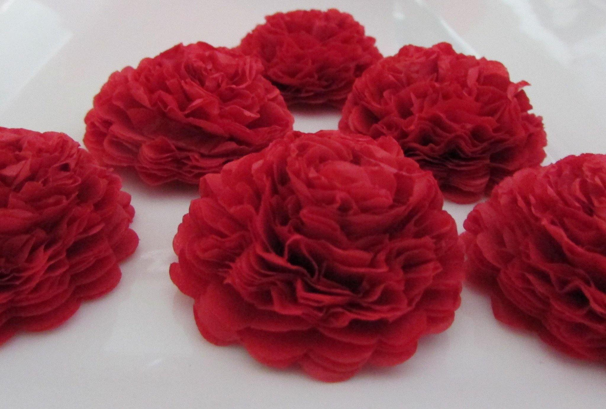 Red Button Mums Tissue Paper Flowers