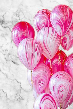 Red & White Marble Balloons Bouquet