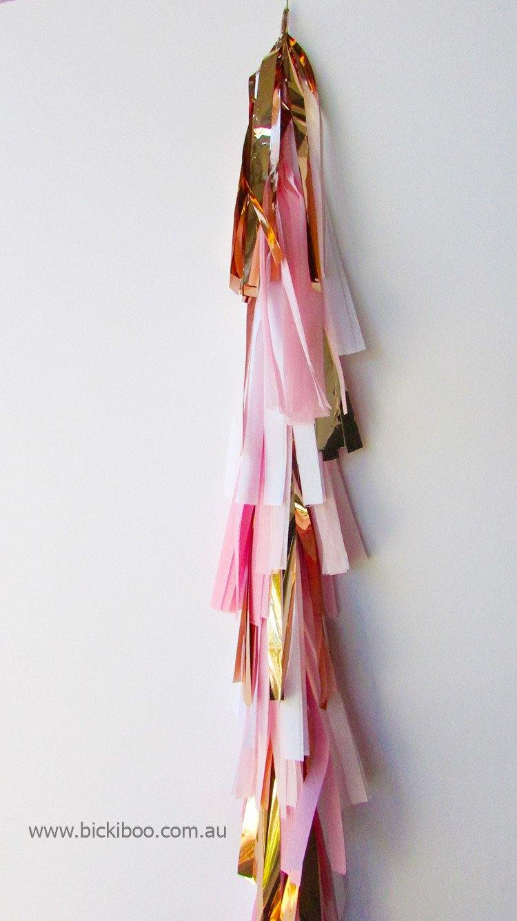 Balloon Tassel Garland - Rose Gold & Pinks - Bickiboo Party Supplies