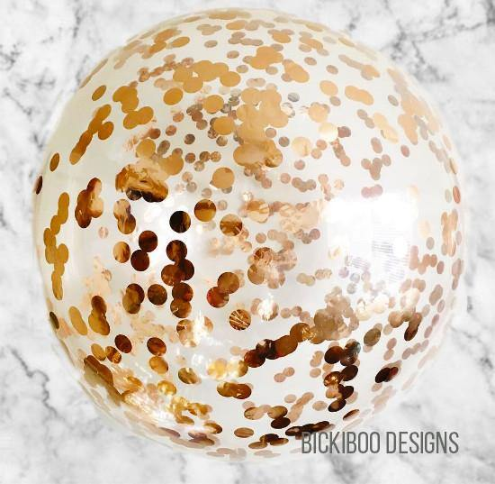 Large Confetti Balloon Rose Gold - 60cm