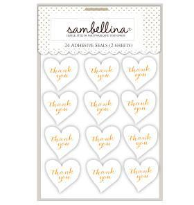 Sambellina Heart Stickers White with Gold Stamp - 24 Pack - Bickiboo Party Supplies