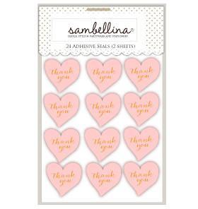 Sambellina Heart Stickers Pink with Gold Stamp - 24 Pack - Bickiboo Party Supplies