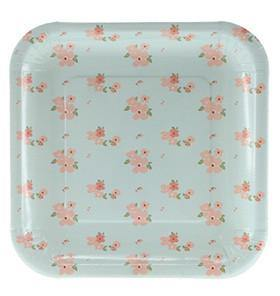Sambellina Blue Floral Square Plate - Bickiboo Party Supplies
