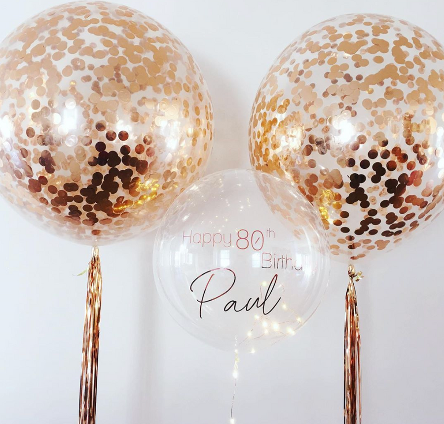 Jumbo Confetti Balloon True Rose Gold - Bickiboo Designs