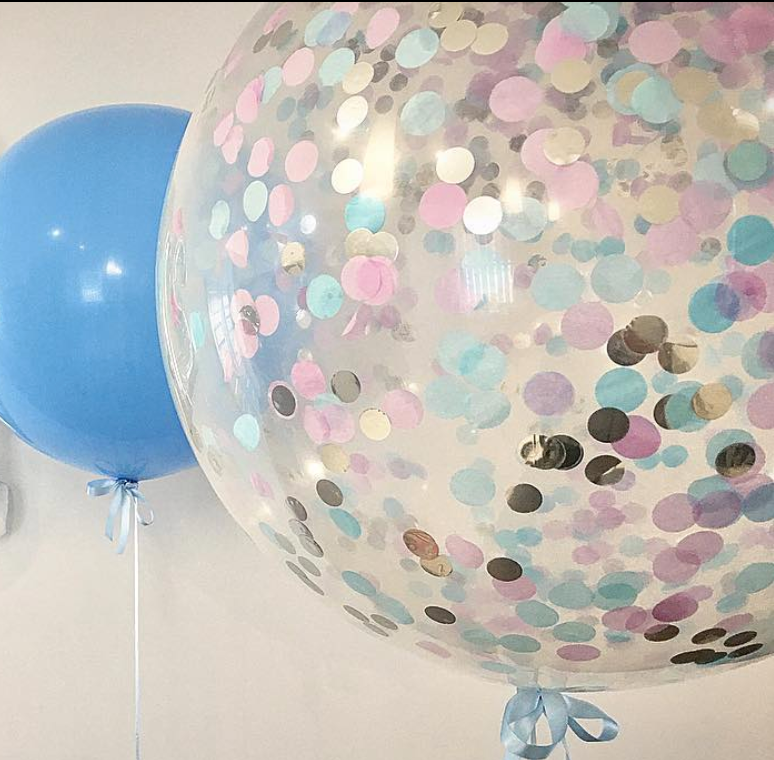 Jumbo Helium Filled Confetti Balloon - Pinks, Lilacs, Blues & Silver - Bickiboo Designs