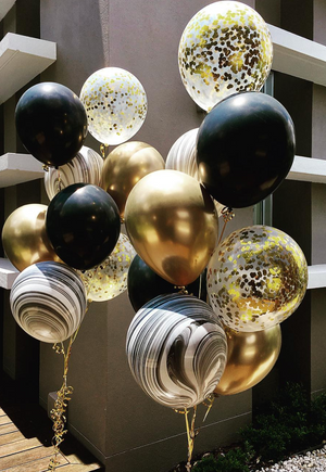 Black marble & gold confetti Balloons Bouquet - Bickiboo Designs