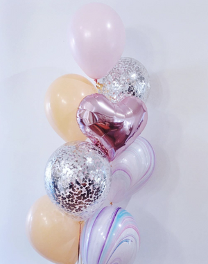 Rose Gold heart & confetti Balloons Bouquet - Bickiboo Designs