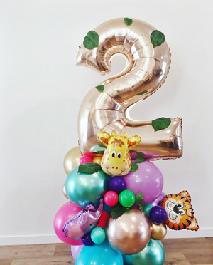 Rose gold number balloon stand - Jungle animals - Bickiboo Designs