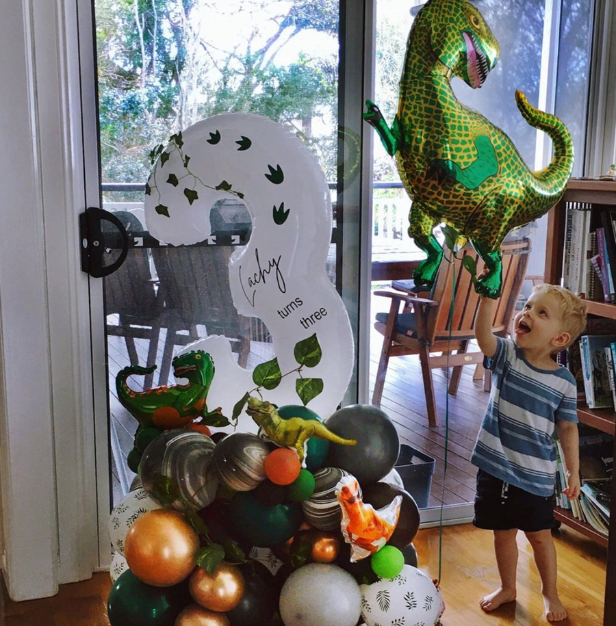 Bespoke number balloon stand - Dinosaurs