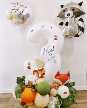 Bespoke number balloon stand - Woodland Animals Party