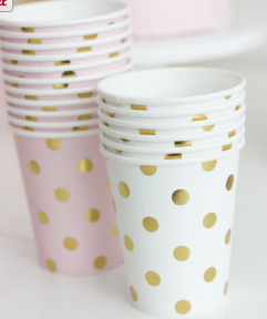 Sambellina Pink with Gold Foil Polkadot Cups - Bickiboo Party Supplies