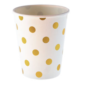 Sambellina White with Gold Foil Polkadot Cups - Bickiboo Designs