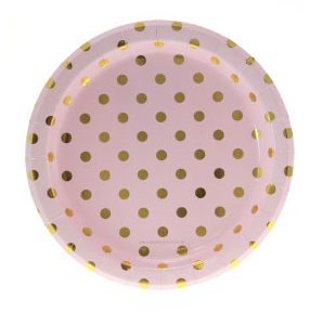 Sambellina Pink with Gold Foil Polkadot Plates - Bickiboo Party Supplies