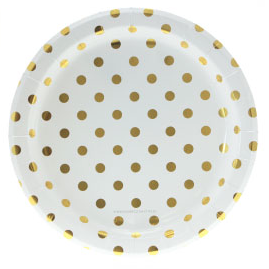 Sambellina White with Gold Foil Polkadot Plates - Bickiboo Party Supplies