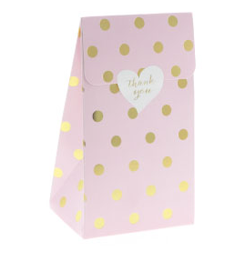 Sambellina Pink with Gold Foil Polkadot Treat Box - 12 Pack - Bickiboo Party Supplies