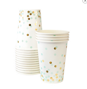 Mint and Gold Foil Confetti Cups - Bickiboo Party Supplies