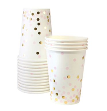 Pink and Gold Foil Confetti Cups - Bickiboo Party Supplies