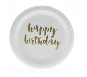 Sambellina Gold Foil Happy Birthday Cake Plates - Bickiboo Party Supplies